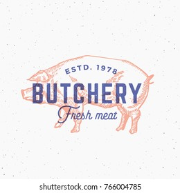 Retro Print Effect Butchery. Abstract Vector Sign, Symbol or Logo Template. Hand Drawn Pig Sillhouette with Typography. Vintage Emblem or Stamp. Isolated.
