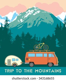 Retro print trips to the mountains. The trailer with the trailer and bike on the background of a mountain landscape.
