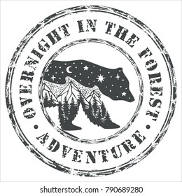 Retro printing. A wiped seal with wild animals. Journey to the mountains. The mountain range. Fox, bear, deer and hare with a stylized view of nature.