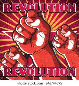 Retro Punching Fist Revolution Sign. Great illustration of Russian Propaganda style punching Fist symbolizing Revolution.