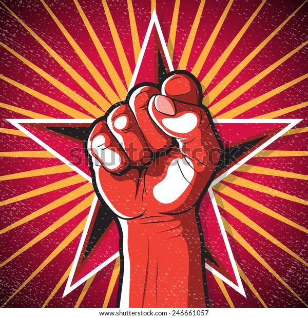 Retro Punching Fist Sign. Great illustration of Russian Propaganda style punching Fist symbolising Revolution.
