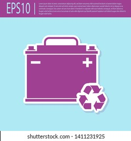 Retro purple Car battery with recycle icon isolated on turquoise background. Accumulator battery energy power and electricity accumulator battery. Vector Illustration