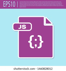 Retro purple JS file document. Download js button icon isolated on turquoise background. JS file symbol.  Vector Illustration