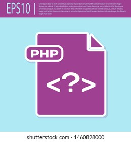 Retro purple PHP file document. Download php button icon isolated on turquoise background. PHP file symbol.  Vector Illustration