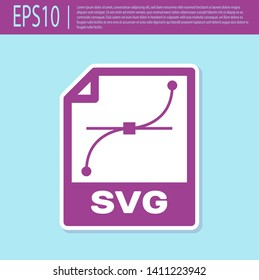 Retro purple SVG file document icon. Download svg button icon isolated on turquoise background. SVG file symbol. Vector Illustration