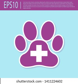 Retro purple Veterinary clinic symbol icon isolated on turquoise background. Cross hospital sign. A stylized paw print dog or cat. Pet First Aid sign. Vector Illustration
