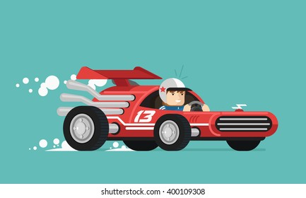 Retro race driver. Vector illustration. Flat design.