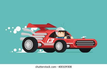 Retro race driver. Vector illustration. Flat design.