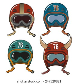 Retro racing helmets in old-school style with goggles of various colors.