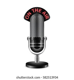 Retro radio microphone with. On the air. Caption. Highly detailed vector icon