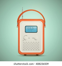 Retro radio. Old radio. Realistic illustration of vintage radio receiver. Vector radio isolated. Nostalgia. Isolated radio. Radio translation. Radio antenna. Radio wave.