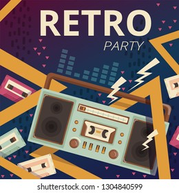 Retro radio poster. Typography design camera music cassette recorder vector placard of 80s