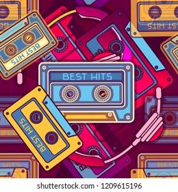 Retro Radio Seamless Pattern. 80's Background Wallpaper