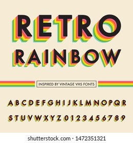 Retro Rainbow Alphabet - Retro rainbow alphabet with colorful 3D letters. Inspired by vintage VHS font design. Capital letters and numbers are included.