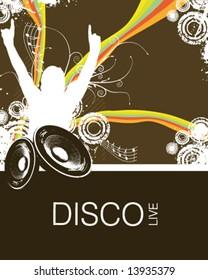 Retro Rainbow Music Fan Vector Illustration