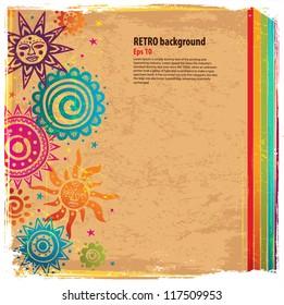 Retro rainbow ornament background