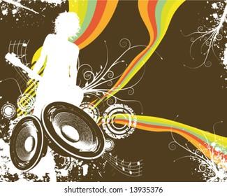 Retro Rainbow Speaker Band Vector Illustration
