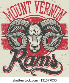 "Retro ""Rams"" athletic design complete with ram mascot head vector illustration, vintage athletic fonts and matching textures (all on separate layers, of course)."