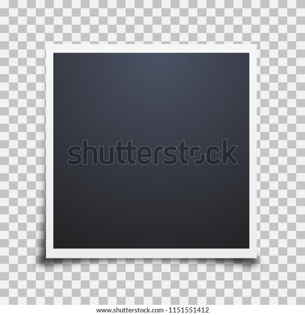 Ретро реалистичная пустая мгновенная фотокарточка с эффектом тени белой рамкой, изолированной на прозрачном фонде. фоторамка. Шаблон фото дизайн, векторная иллюстрация