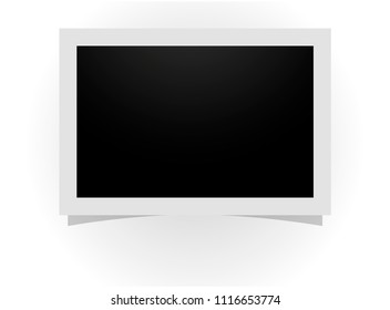 Retro realistic horizontal blank instant photo frame with shadow effects. Template photo design,  vector illustration Polaroid frame