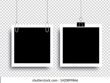 Retro realistic photo frame with paper clip isolated on transparent background for template photo design. vector illustration