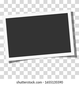 Retro realistic vector photo frame placed horizontally on transparent background. Template photo design.