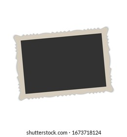 Retro realistic vector photo frame with figured edges. Vector
