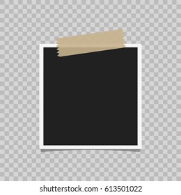Retro realistic vector photo frame placed on transparent background. Template photo design. Realistic vector photo frame with straight edges on sticky tape placed vertically. Template photo design.