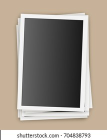 Retro realistic vector photo frame placed on transparent background. Template photo design.