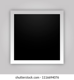 Retro realistic vertical blank instant photo card with shadow effect white plastic border. Template photo design, vector illustration. Polaroid frame
