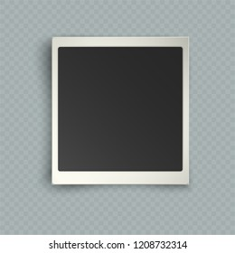 Retro realistic vertical blank instant photo frame with shadow effects white plastic border isolated on transparent background. Template photo design, polaroid photo imitation, vector illustration