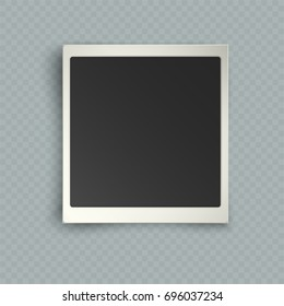 Retro realistic vertical blank instant photo card with shadow effect white plastic border isolated on transparent background. Template photo design, polaroid frame imitation, vector illustration
