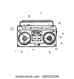 Retro record player. Doodle style modern original illustration. Drawn by hand old school boombox.