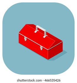 Retro red box for carrying tools. Tool box icon. Toolkit.