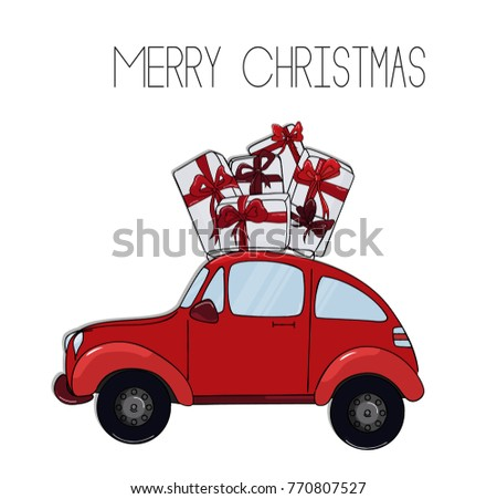 Retro Red Car Christmas Gifts Winter Stock Vector Royalty Free