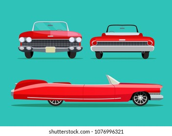 Retro red car vintage isolated. Side, back and front view. Vector flat style illustration
