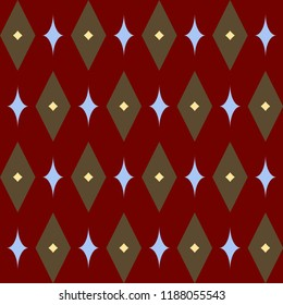 Retro red Christmas pattern. Simple geometric dimond allover motif. Vintage design home holiday decoration, interior textile, fabric, wallpaper, postcards, flyers background, banners, flags and tags.