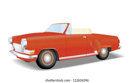 Retro red convertible car in vector
