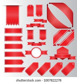 Retro red ribbons and labels. Set of vector flat ribbons