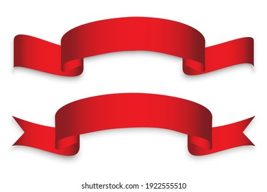 Retro red ribbons. Xmas background. Vector design template. Stock image. EPS 10.