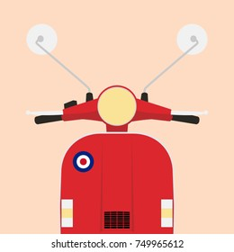 Retro red scooter illustration front view, flat style, pastel colour, vector