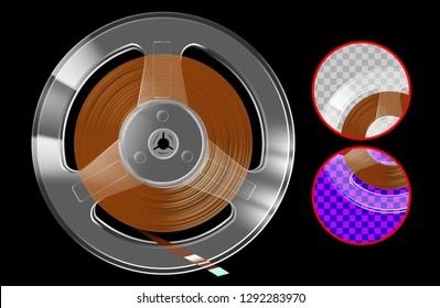 Retro reel with tape for vintage music player or recorder and transparent plastic case for 80s and 90s party poster or cover