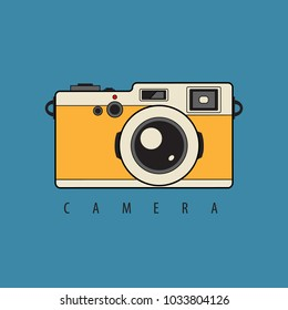 Retro Reflex Photo Camera. Vector Illustration. Vintage Style with Text