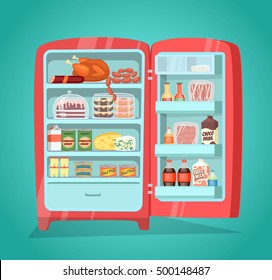 Retro refrigerator full of food. Vintage fridge filled with daily products vector illustration. Saving freshness of meal. Weekly nutrients supply. Space organization in freezer. Home abundance concept