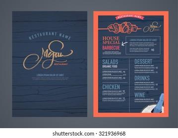 Retro restaurant menu design and wood texture background.