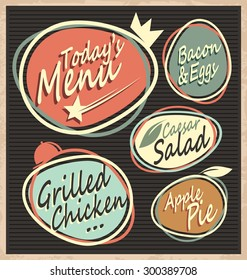 Retro restaurant menu template. Vintage food offer chalk board design with unique labels.