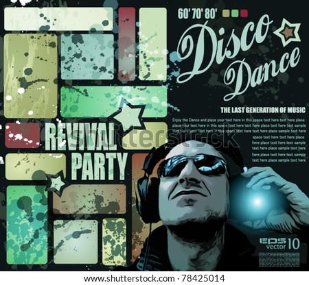 retro revival disco party flyer poster stock vector royalty free