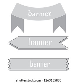 retro ribbon baner with star icon on gray background