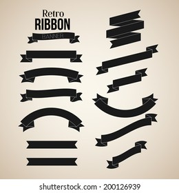 Retro Ribbon Banners Vector Collection
