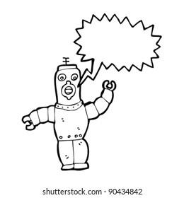 retro robot cartoon